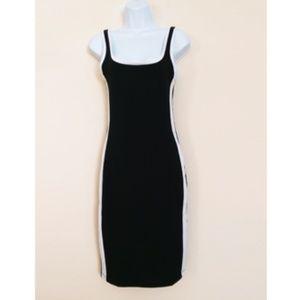 ZARA TRAFALUC BLACK DRESS WITH STRIPES SIZE M